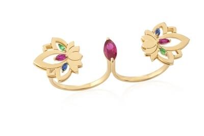 Gold Lotus Ring with Semi Precious