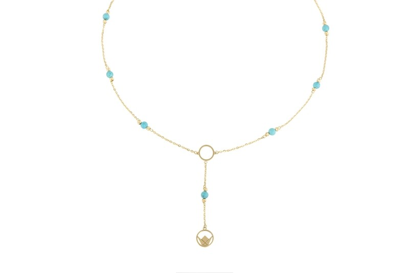 Emblem Gold Necklace with Semi Precious