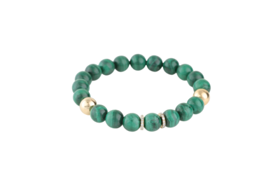Bracelet Malachite Stones with Gold and Diamond