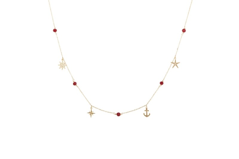 Gold Necklace with Semi Precious