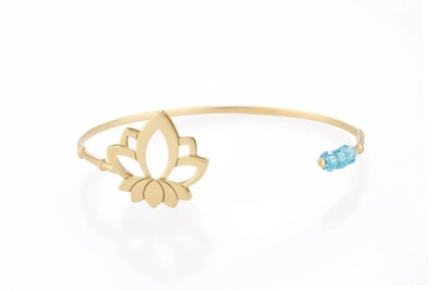 Lotus Gold Bracelet with Semi Precious