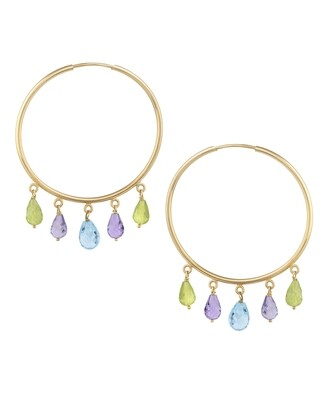 Gold Earrings with Semi Precious