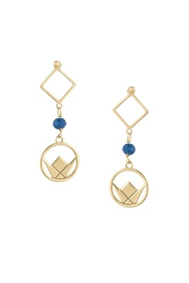 Emblem Gold Earrings with Semi Precious