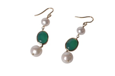 Earrings Gold with Pearls and Semi Precious