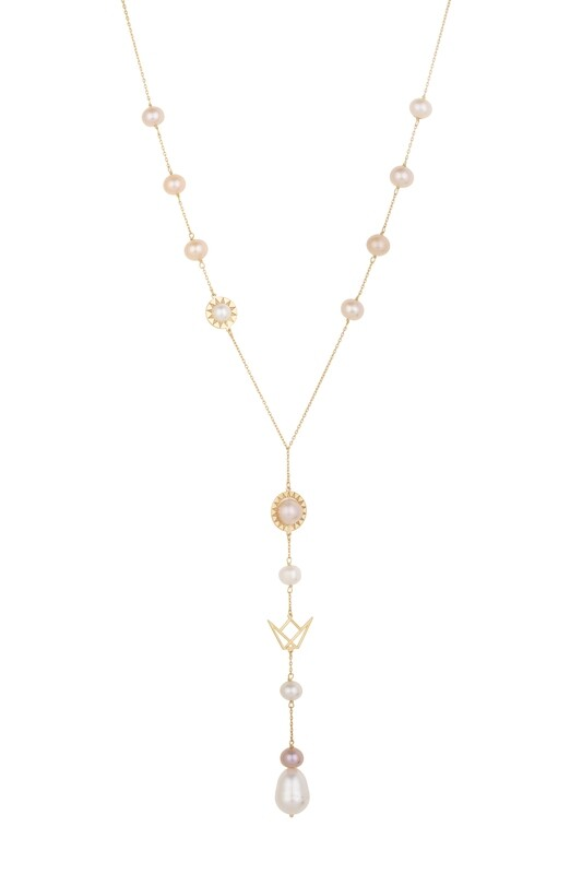 Emblem Necklace Gold with Pearls