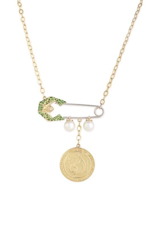 Tribute Gold Diamond Necklace with Semi Precious
