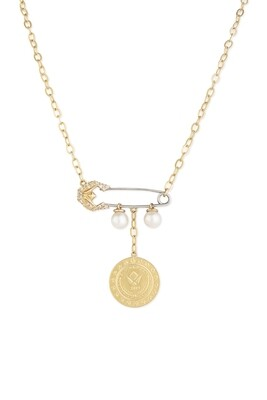 Tribute Gold Diamond Necklace with Pearls