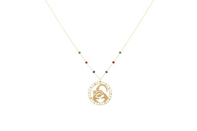Zodiac Necklace Gold Scorpio with Semi Precious