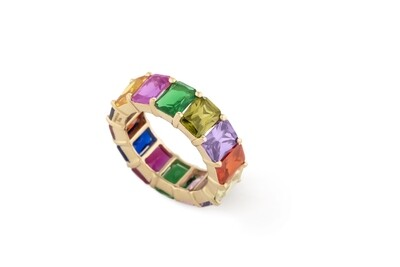 Multicolor Gold Ring with Semi Precious