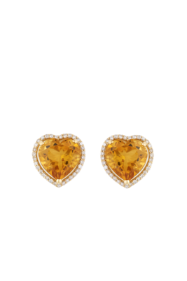 Heart Earrings Gold Diamond with Semi Precious