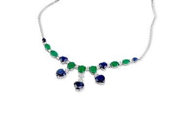 Bridal Diamond Necklace with Sapphire and Emerald
