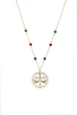 Zodiac Libra Gold Necklace with Semi Precious