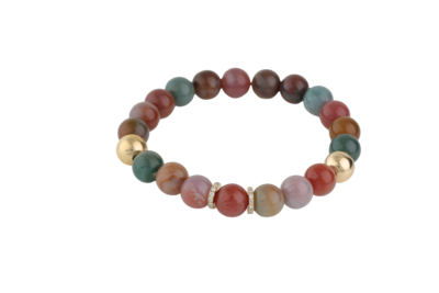 Bracelet Fancy Jasper Stones with Gold and Diamond