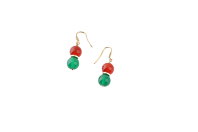 Gold Earrings with Colored Stones