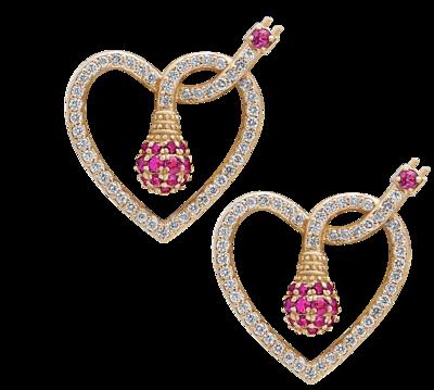 Earrings Diamond Light Love with Ruby