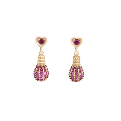 Gold Light Earrings Love Edition with Ruby