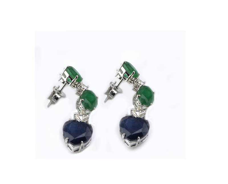 Eternal Diamond Earrings with Sapphire and Emerald
