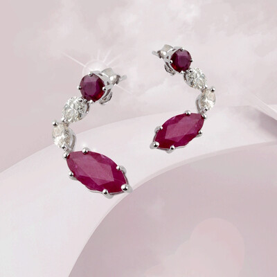 Eternal Diamond Earrings with Ruby
