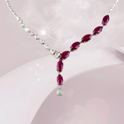 Eternal Marquise Diamond Necklace with Ruby