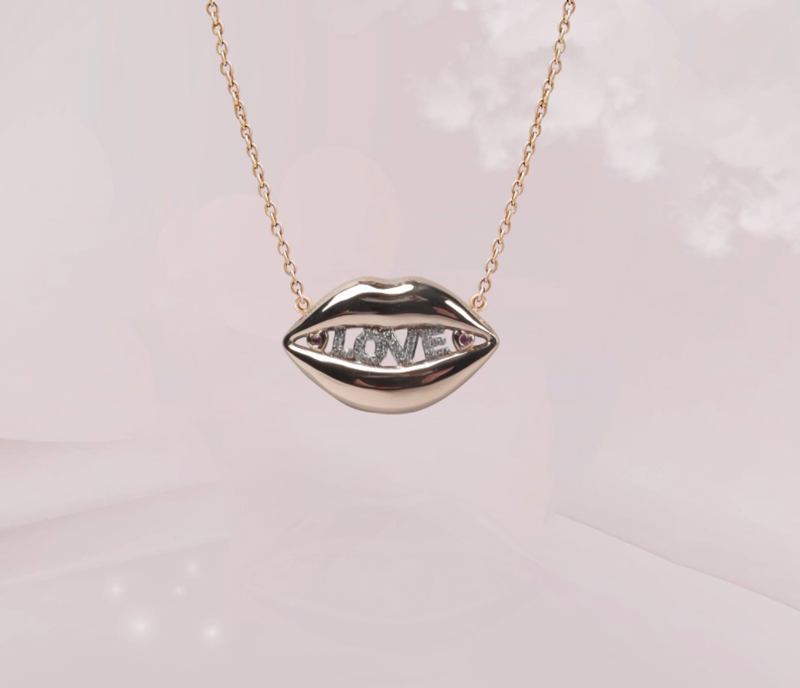 Lips Diamond Necklace with Sapphire