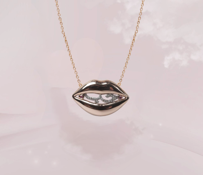 Lips Gold Necklace with Diamond and Sapphire