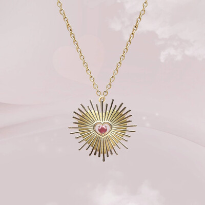 Heart Gold Necklace with Ruby