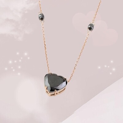 Black Heart Gold Necklace with Fancy Diamond