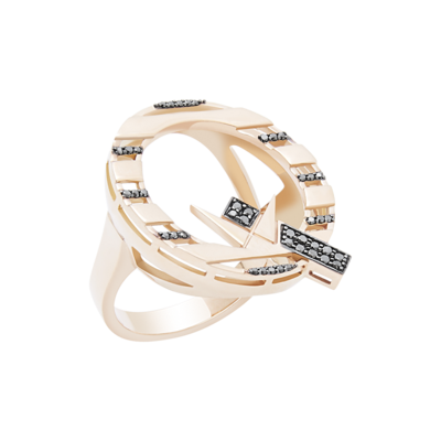 Q Gold Ring with Fancy Diamond