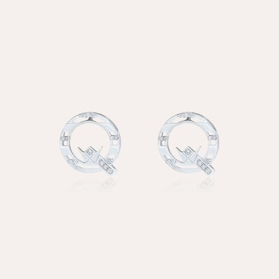 Q Earrings White Gold with Diamond