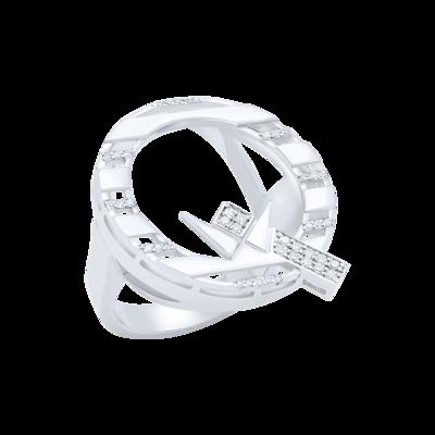 Q Ring White Gold with White Diamond