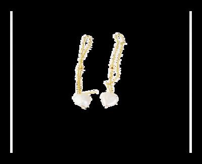 Eternal Heart Gold Earrings with Pearl