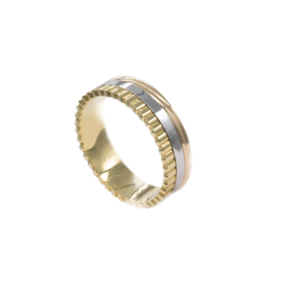 Wedding Band Mixed White and Yellow Gold