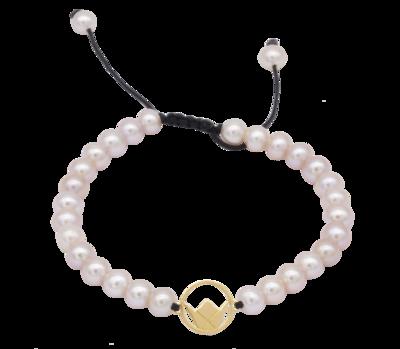 Emblem Gold Bracelet with Pearls