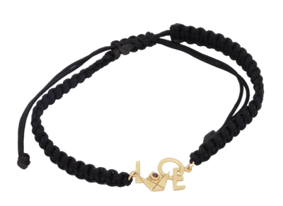 Love Emblem Gold Bracelet with Shamballa