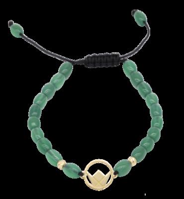 Emblem Gold Bracelet with Green Agate