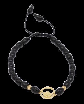 Emblem Gold Bracelet with Black Obsidian