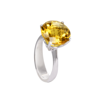 Wedding Band Solitaire with Semi Precious