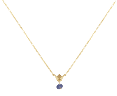 Emblem Gold Necklace with Colored Stone