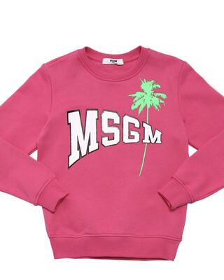 MSGM Pink Logo Printed Sweatshirt