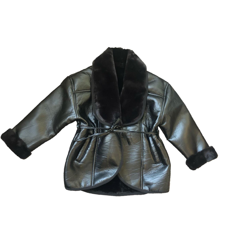 Wrap Faux Fur Leather Jacket