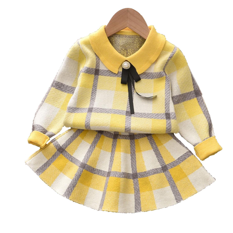 Yellow Checkered Knit Set