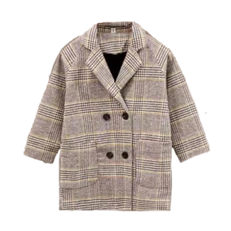 Plaid Wool Blazer Coat