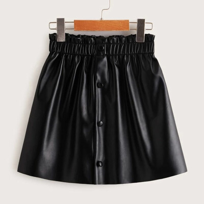 Buttoned PU Leather skirt