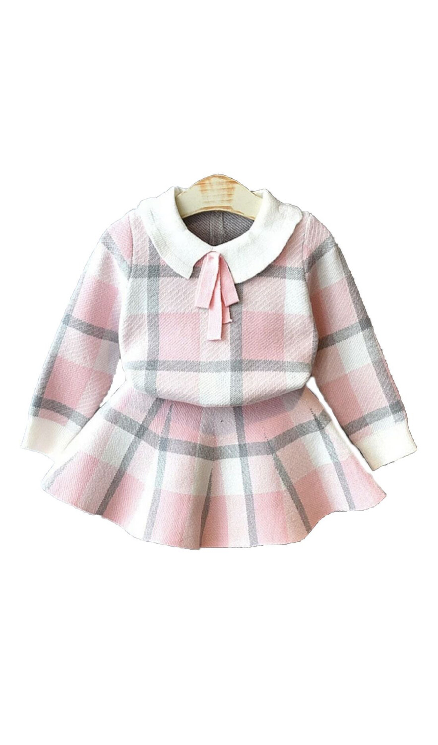 Pink Checkered Sweater and pleated skirt
