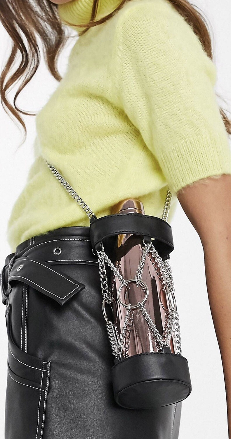 Water Bottle Chained Leather Holder