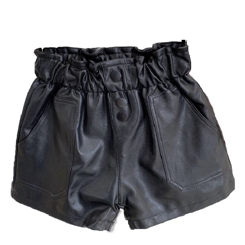 Buttoned Leather Shorts