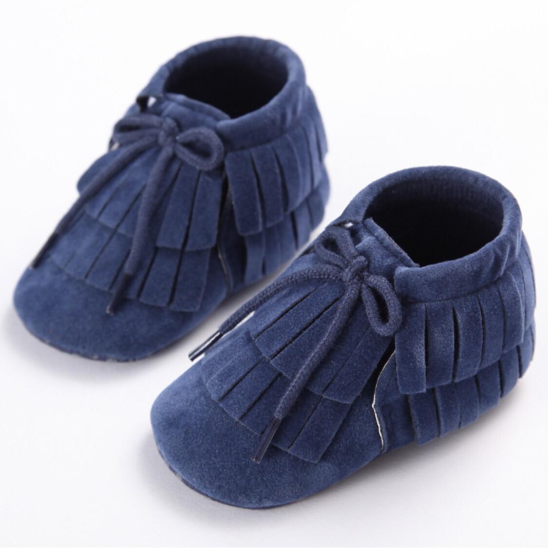 Navy Fringed Shoes