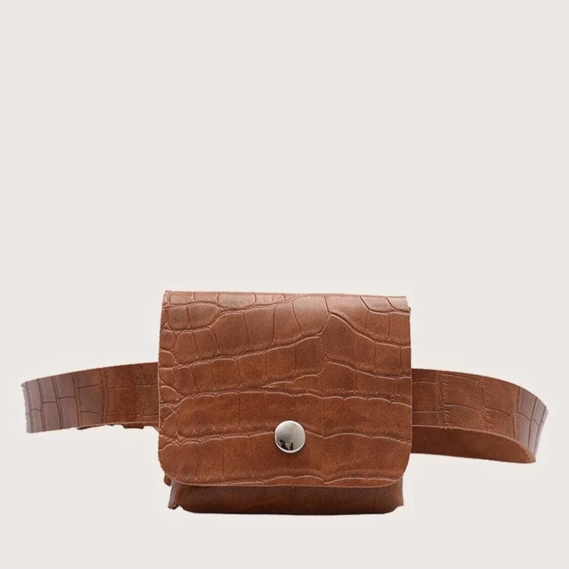 Croco Tan Waist Belt Bag