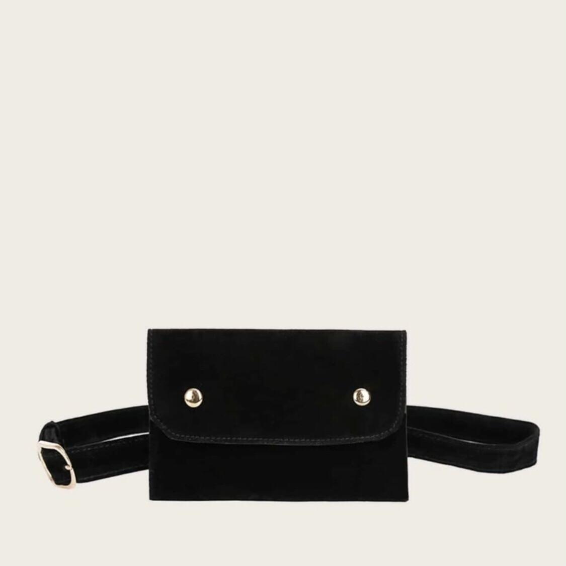 Suede Black Waist Belt Bag