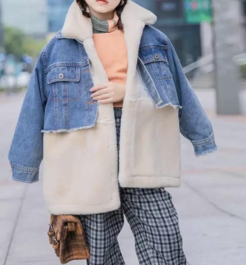 Denim Teddy Fur Oversized Jacket